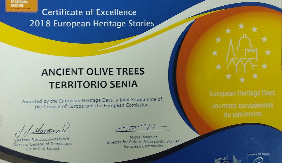 Prize European Heritage Stories 2018 to MILLENARY OLIVE TREES OF THE SÉNIA TERRITORY